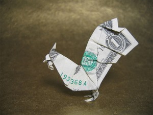 Dollar bill origami chicken