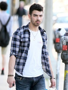 Joe Jonas in a flannel shirt