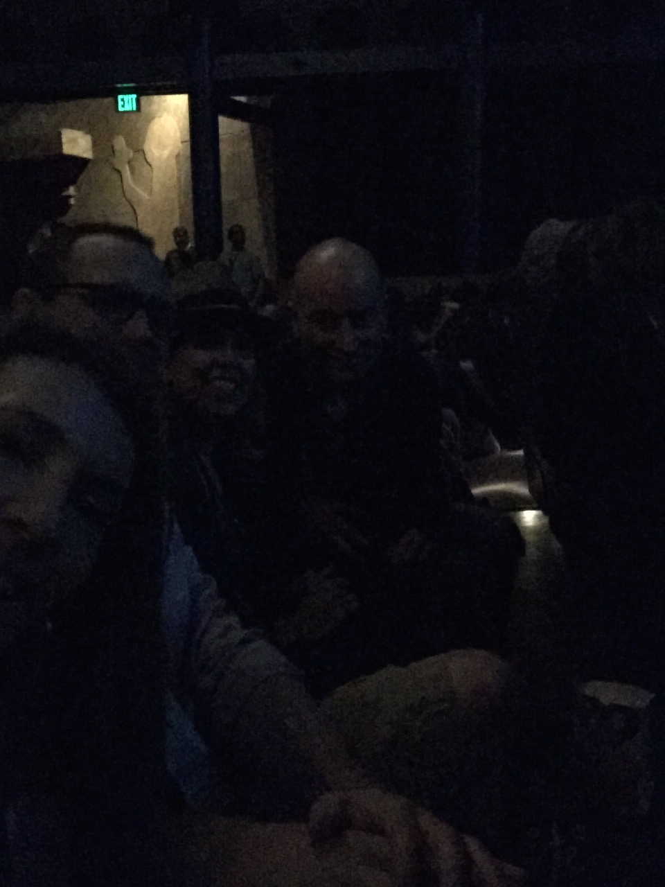 Also, this is what happens when you try to take a picture selfie-style in a dark theater. The flash, naturally, is on the other side of the phone.