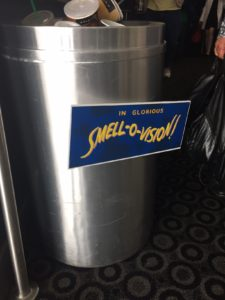 "I stopped traffic upon exiting to take a picture of this rubbish bin with a ""Smell-O-Vision"" sign on it. No one understand why I thought it was funny. Oh well."
