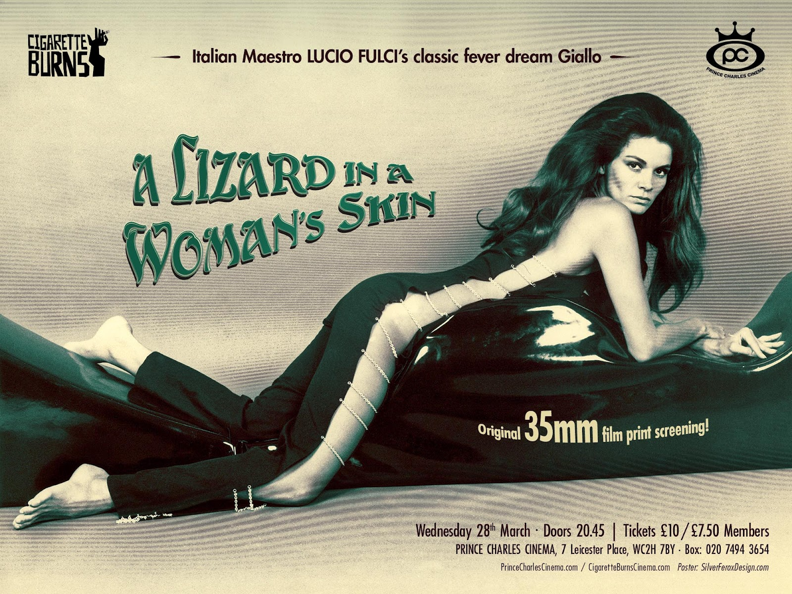 a lizard in a woman's skin poster